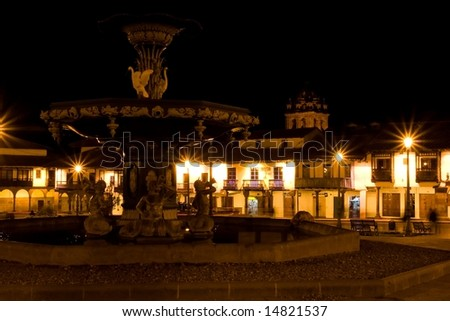 Main square in Cusco, a city in southeastern Peru, near the Urubamba Valley (Sacred Valley) of the Andes mountain range. - stock photo