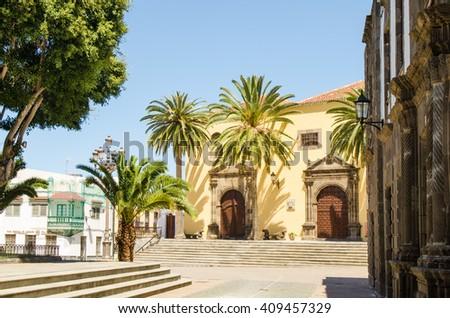 Main square in Garachico with monastery of SanFrancisco, Tenerife, Canary islands, Spain - stock photo