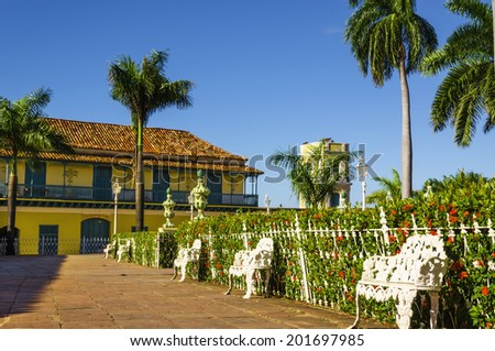 Main square in Trinidad, typical view of small town, Cuba  - stock photo