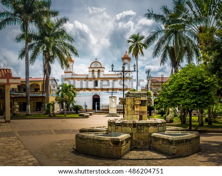 Main square of Copan Ruinas City, Honduras