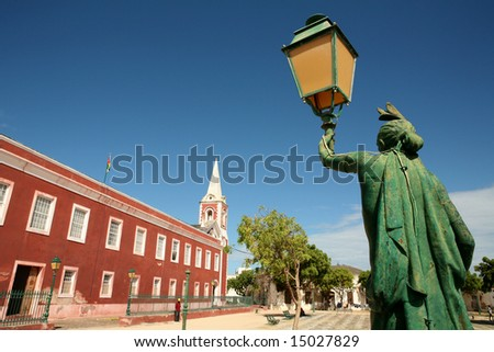 Main square of Island of Mozambique. - stock photo