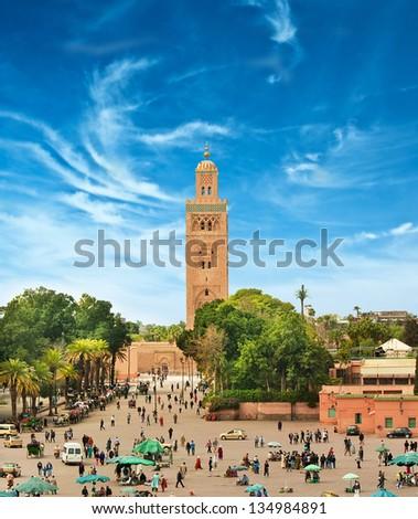 Main square of Marrakesh in old Medina. Morocco. - stock photo
