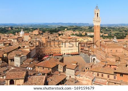 """Main square of Siena, Italy, where the famous horse race """"Palio"""" takes place - stock photo"""