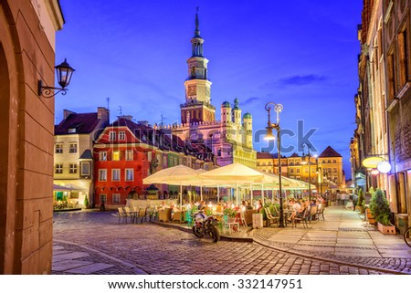 Main square of the old town of Poznan, Poland on a summer day evening. - stock photo