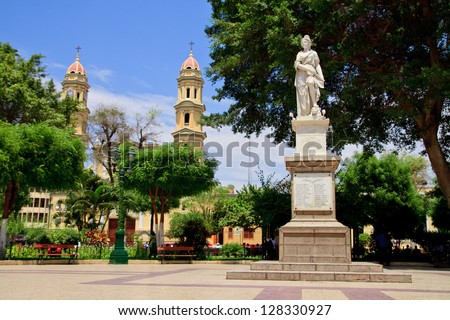 Main square plaza with Grau memorial in Piura, Peru