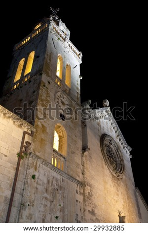 Main square with cathedral in old medieval town Korcula  by night. Croatia, Dalmatia region, Europe. - stock photo