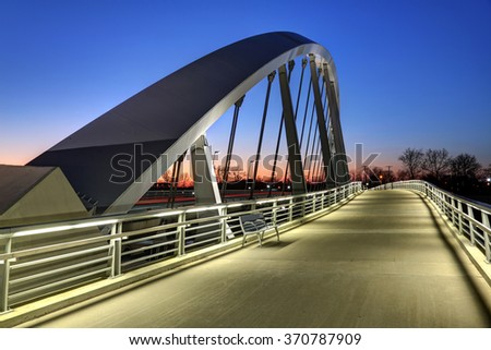 Main Street Bridge in Columbus, Ohio at dusk - stock photo