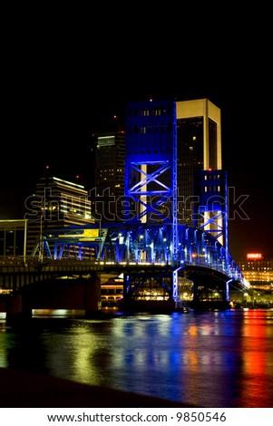Main Street Bridge in Jacksonville Florida at night - stock photo