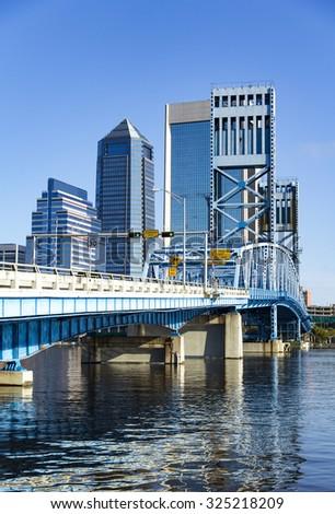 Main Street Bridge over the St. Johns River leading into downtown Jacksonville Florida - stock photo