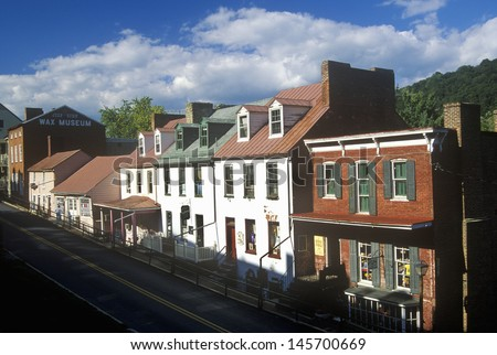 Main Street in Harpers Ferry, WV - stock photo