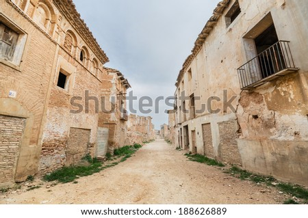 Main Street in the abandoned town of Belchite. Was destroyed during the Spanish civil war, Saragossa, Spain. - stock photo
