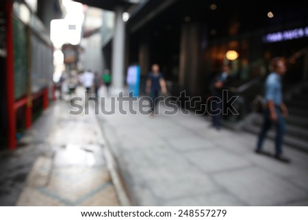Main Street in The City in Blurry for Background - stock photo