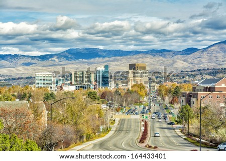 Main street leads to the Idahos tate capital building - stock photo