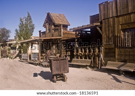 Main street of Pioneertown, an old movie set. - stock photo