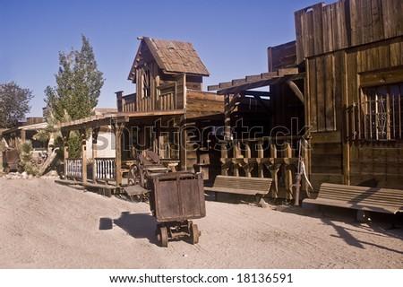 Main street of Pioneertown, an old movie set. - stock photo