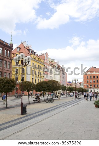 Main street of Wroclaw, Poland - stock photo