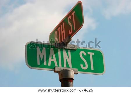 Main Street on Blue Sky, Main Street Sign U.S.A. - stock photo