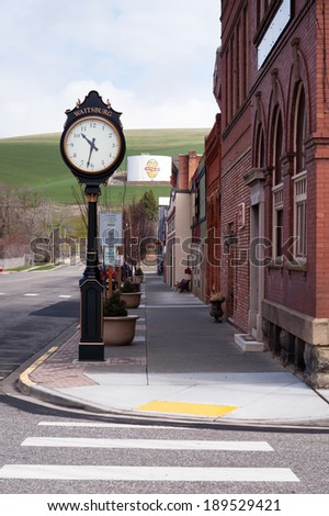 Main Street Small Town USA Waitsburg Washington Eastern State Farmland - stock photo
