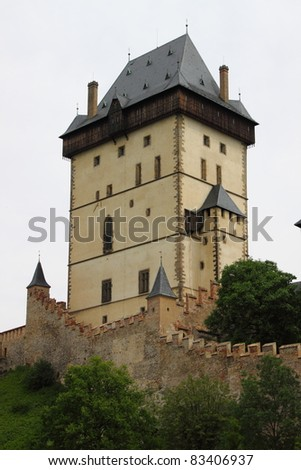 Main tower of Karlstein castle, Czech Republic - stock photo