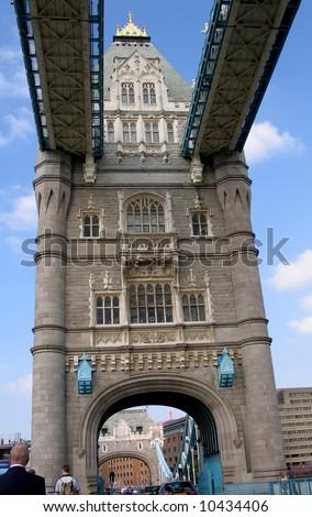 Main tower of Tower bridge - stock photo
