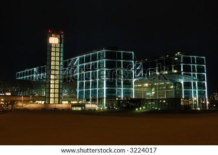 Main Train Station in Berlin illuminated at Night - stock photo