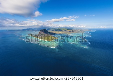 Main view on Mauritius from the helicopter - stock photo