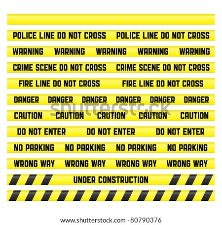Main warn signs with a blank tape to create your own. Tapes are made so that it was easy to make a pattern of any size. Clipping path included for all tapes. - stock photo