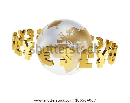 main world currencies, isolated 3d render - stock photo