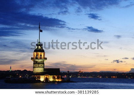 Mainden tower on the small island in Istanbul. Nice sunset on a calm bosphorus channel.