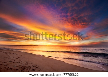 Maine beach in vivid colors of pre-dawn light