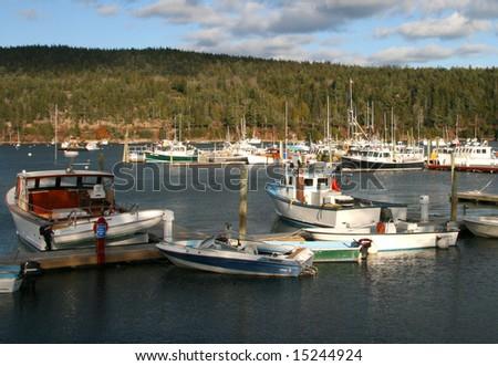 Maine boats in harbor, Bar Harbor, Maine - stock photo