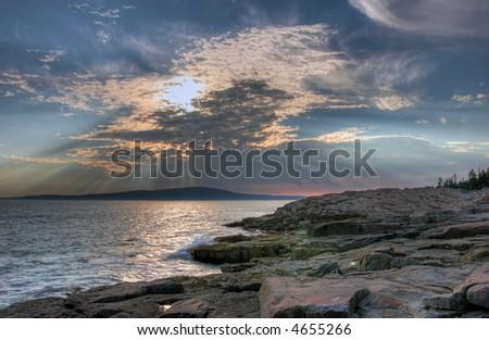 Maine coastline in Acadia National Park near sunset - stock photo