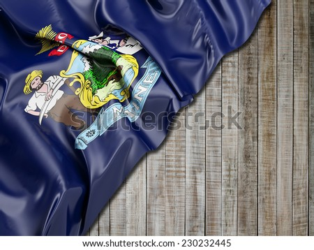 Maine Flag with vertical wood - stock photo