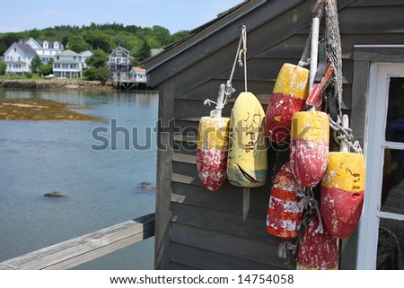Maine Lobster Shack Bouys - stock photo