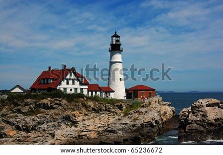 Maine - Portland Headlight Close-Up - stock photo