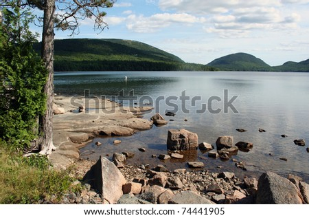 Maine scenic lake Eagle Lake at Acadia National Park