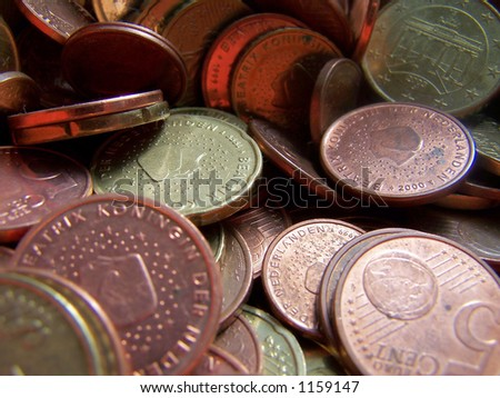 Mainly Dutch euro coins - stock photo