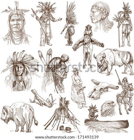 Mainly INDIANS (and Wild West as well). Collection of an hand drawn illustrations, originals. Description: Full sized hand drawn illustrations drawing on white. - stock photo