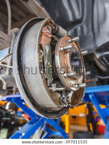 maintenance car brakes hub in garage