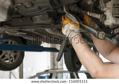 Maintenance of cars - tools, materials, equipment - stock photo