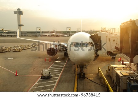 maintenance of civil aircraft in JFK airport - stock photo