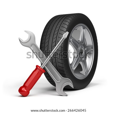 Maintenance repair of motor vehicles. 3d image. White background. - stock photo