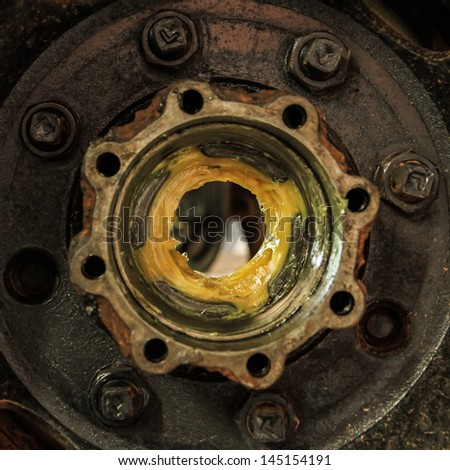 Maintenance suspension and brakes.,Wheel trucks. - stock photo