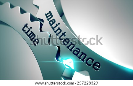 Maintenance Time on the Mechanism of Metal Gears. - stock photo
