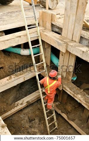 maintenance work on municipal water supply - stock photo