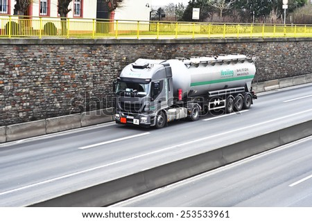 MAINZ,GERMANY-FEB 09:IVECO oil truck on the highway on February 09,2015 in Mainz,Germany.IVECO is an Italian industrial vehicle manufacturing company based in Turin, Italy - stock photo