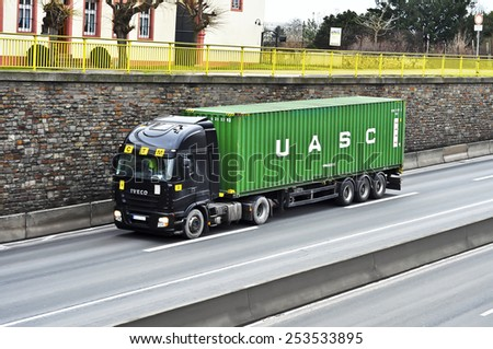 MAINZ,GERMANY-FEB 09:IVECO truck on the highway on February 09,2015 in Mainz,Germany.IVECO is an Italian industrial vehicle manufacturing company based in Turin, Italy - stock photo