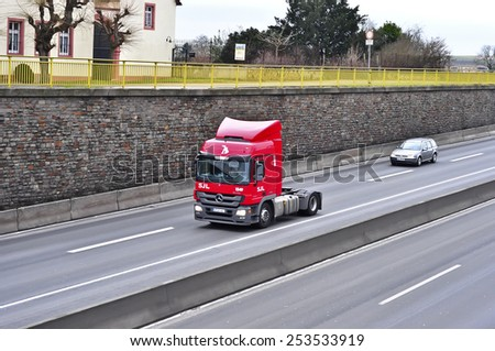 red truck concrete mixer panning blur stock photo 63997573 shutterstock. Black Bedroom Furniture Sets. Home Design Ideas
