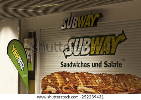 MAINZ,GERMANY-FEB 12:SUBWAY fast food restaurant on February 12,2015 in Mainz, GermanySubway is an American fast food restaurant franchise that primarily sells submarine sandwiches and salads. - stock photo