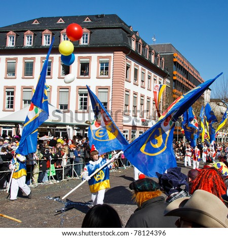 MAINZ, GERMANY - MARCH 7: The Rose Monday Parade (Rosenmontagszug) moves through the city March 7, 2011 in Mainz, Germany. It is the culmination of the annual carnival season.